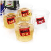 """Bombs Away Shot Glasses â€"""" 4pc Set. Novelty bomb shot glasses, perfect for jager and red bull."""