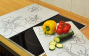 Set of 2 Glass Chopping Cutting Board Induction Ceramic Hob Cover Worktop Saver