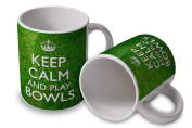 Keep Calm and Play Bowls - Mug Cup - grassy background