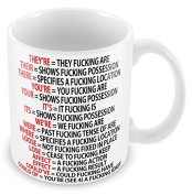 "Acen ""Grammar Expletive"" Ceramic Mug, White, 330ml"