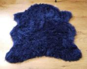 Navy blue soft faux fur single sheepskin style rug 70 x 100 cm