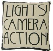 "LIGHTS CAMERA ACTION FILM REEL MOVIE BLACK COTTON BLEND CUSHION COVER 18"" - 45CM"