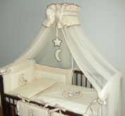Luxury Baby Cot Bed Crown Canopy / Mosquito Net 480 cm + Clamp Holder / Rod / Stand MOON - CREAM