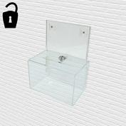 Lockable Wall Mounted Acrylic Ballot Box / Suggestion Box with Literature Holder