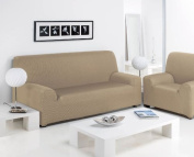 Easy Fit Stretch Elastic 3 Seater Sofa Couch Fabric Slip Over Washable Cover, Cream
