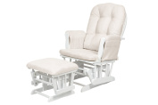KUB Nursery Haywood White Finish Glider Chair and Footstool