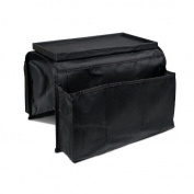 Gaorui Sofa Couch Armrest Organiser Storage Remote Control Holder table bag 6 Pockets with Table-Top_Black