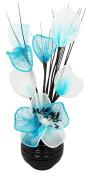 Flourish 32 cm Vase with Mesh Mini Flower TW, 813 Black/ Teal Blue