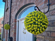 2 Best Artificial (TM) 28cm Yellow Rose Topiary Hanging Flower Balls **UV Fade Protected**