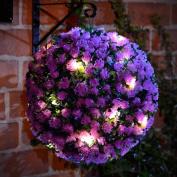 20 LED Solar Powered Rose Topiary Ball Boxwood Hanging Garden Light Ornament