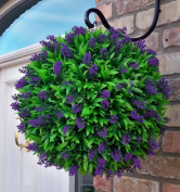 Large 40cm Best Artificial (TM) Purple Lush Lavender Long Leaf Topiary Grass Flower Ball **UV Fade Protected**