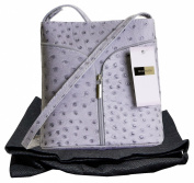 Italian Leather, Small Ostrich or Smooth Effect Small Cross Body or Shoulder Bag Handbag. Includes a Protective Dust Bag.