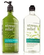 Body Works Aromatherapy Stress Relief Eucalyptus Spearmint 300ml Body Wash & Foam Bath and 190ml Body Lotion Bundle