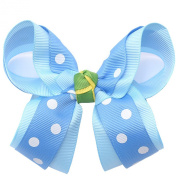 Girls Blue White Polka Dotted Grosgrain Bow Alligator Hair Clippie