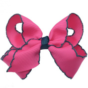 Girls Fuchsia Black Edges Grosgrain Bow Alligator Hair Clippie