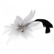 White Flower Feather Corsage Brooch Hair Clip Pin Gift Fascinator