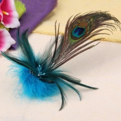 Blue Peacock Feather Corsage Hair Clip Brooch Pin Wedding Fascinator