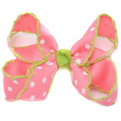 Girls Coral Polka Dotted Grosgrain Bow Alligator Hair Clippie
