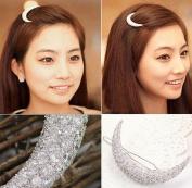Towallmark 1PC Beautiful Charming Silver Crystals Hair Clip Bang Headdress Barrette Rhinestones Moon Clamp Hairpins