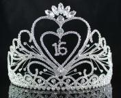 Janefashions Sweet Sixteen 16 Birthday Party Rhinestone Tiara Crown w/ Hair Combs T1875 Huge