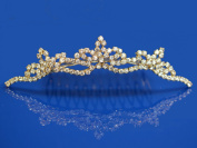 Bridal Wedding Gold Tiara Comb With Three-Crystal Centre 4277G