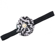Girls Black Chevron Stripe Flower Rhinestone Stretchy Hairband Hair Accessory