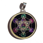 Sacred Geometry Metatron's Cube Pendant in black tourmaline and crystals