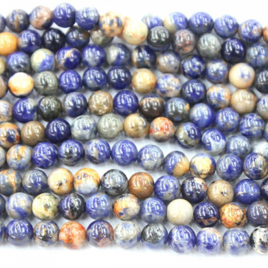 Natural Blue Red Special Sodalite Round Gemstone Loose Beads Jewerly Making Findings (6mm)