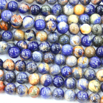 Natural Blue Red Special Sodalite Round Gemstone Loose Beads Jewerly Making Findings (12mm)