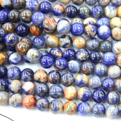 Natural Blue Red Special Sodalite Round Gemstone Loose Beads Jewerly Making Findings (10mm)
