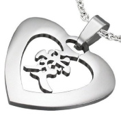 1 Pendant - 316L Stainless Steel heart shape with love symbol pendant - ST007C