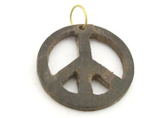 1 Pendant - Brown colour natural wood carved peace symbol pendant - PB091