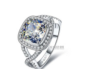 3 Carat Cushion Cut Luxury Quality Simulated Diamond Rings for Women ,Nscd Synthetic Diamond Halo Wedding Enagement Ring