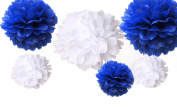 CheckMineOut 12pcs 3 Sizes Mixed White Royal Blue Tissue Paper Pom Poms Flowers Wedding Decoration Birthday Party Baby Shower Decor