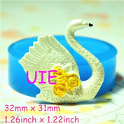 035LBD Quiet Swan Silicone Push Mould Fondant Gumpaste Polymer Clay Charms Decoden