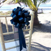Navy Blue Wedding Pull Bows with Tulle Tails - 20cm Wide, Set of 6