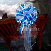 Royal Blue and White Striped Wedding Pew Pull Bows with Tulle Tails - 20cm Wide, Set of 6