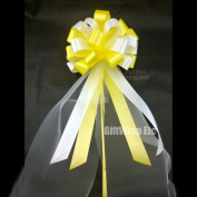 Yellow and White Wedding Pew Pull Bows with Tulle Tails - 20cm Wide, Set of 6