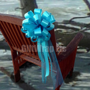 Turquoise Wedding Pull Bows with Tulle Tails - 20cm Wide, Set of 6
