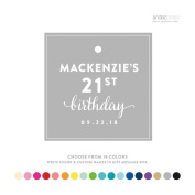 Andaz Press Personalised Square Birthday Gift Tags, Birthday Age, 24-Pack - CUSTOM MADE ANY NAME, colour, AGE