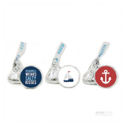 Andaz Press Sail Away Nautical Birthday Collection, Salty Kisses Chocolate Drop Labels Trio, Fits Hershey's Kisses, 216-Pack