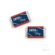 Andaz Press Sail Away Nautical Birthday Collection, Catch of the Day Chocolate Minis Labels, Fits Hershey's Miniatures, 36-Pack