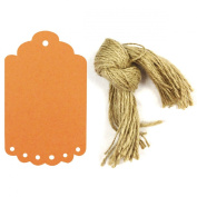 Allydrew 50 Gift Tags/Kraft Hang Tags with Free Cut Strings for Gifts, Crafts & Price Tags, Large Scalloped Edge