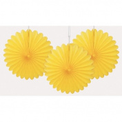Yellow Mini 15cm Tissue Fan Set