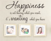 Bling2Bling Happiness is wanting what you have-DIY Quotes Wall Sticker for Home Decor Art Saying Wall Decal Just Peel and Stick