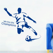 Bling2Bling 【We Are the Champions】Football Athlete Wall Decal Cool Waterproof Wall Sticker Teen Boys' Room/Living Room Home Decor Wallpaper+a Free Switch Sticker