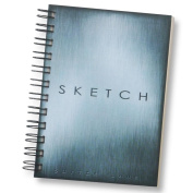 Sketchbook for Drawing and Mixed Media 13cm x 18cm , Blue Metallic Look - Blank Spiral Bound Artist Drawing Pad/Sketch Journal