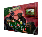 House of Rottweiler Dogs Playing Poker Canvas 16 x 20