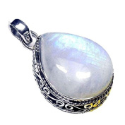Sitara Collections® Handcrafted Sterling Silver Oxidised Rainbow Moonstone Pendant
