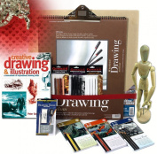 Artist Drawing Set w/ Board, 3 Pencil & 3 Pastel Sets, 128pg Instruction Book, and much more